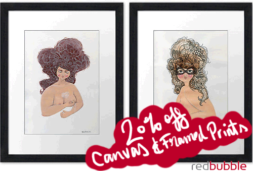 """Two framed illustrations of plump women with finely detailed hair with handwritten text, """"20% off Canvas & Framed Prints"""""""