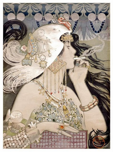An art nouveau era posta for Job cigarette papers in which a young pale skinned woman in a helmet and lots of jewels smokes a cigarette as her hair flicks around her.