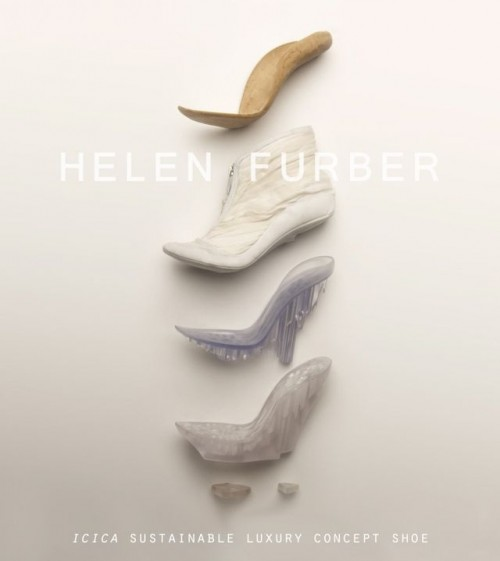 Four conceptual shoes on their sides are positioned in a kind of totem pole. The top is the last, second is a white boot upper with no heel, third is the sole and heel in a stalactite style, and the fourth is a similar stalactite style sole and heel.
