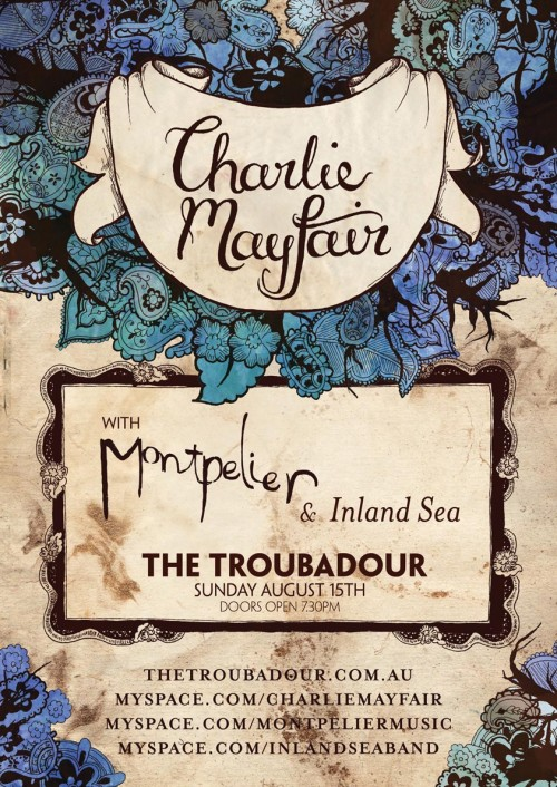 "A gig poster I designed with cream textured paper, blue green foliage and a ribbon that says ""Charlie Mayfair"" in hand lettering."