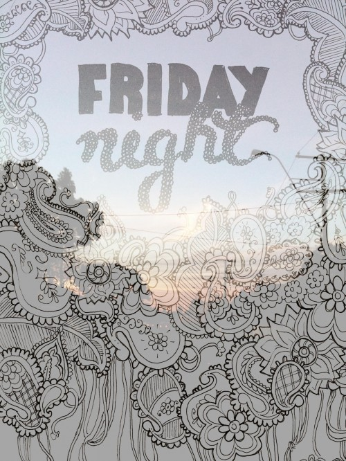 "A photo of a sunset in suburbia with doodling and hand lettering superimposed over the top. The text says ""Friday night""."