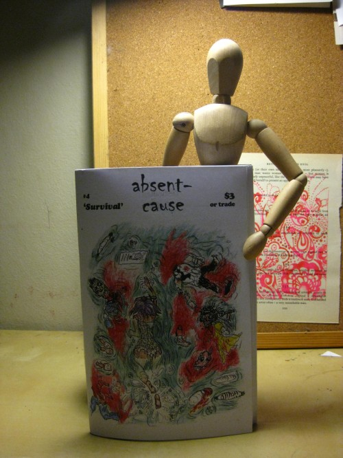 Cover of Absent Cause zine, features an illustration with lots of detailed linework depicting people swimming with red splotches.
