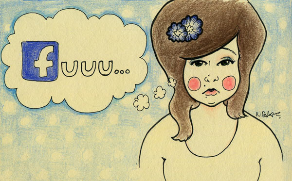 "An Illustration of a brown haired chubby girl with rosy cheeks and a thought bubble that says ""fuuu..."" The f is illustrated like facebook's logo font."