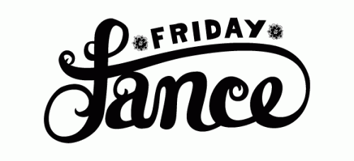 "Black hand lettered text saying ""Friday fance""."