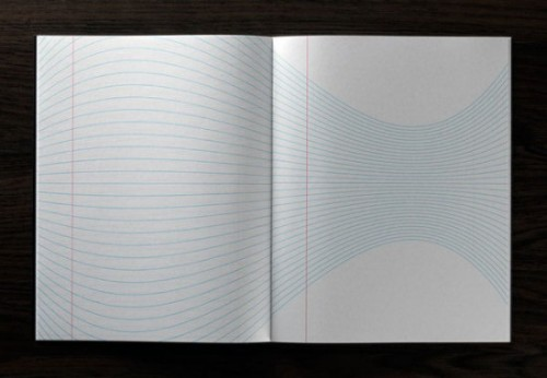 """An open notepad with red ruled margin on the left but the """"typical"""" ruled blue lines are undulating across the spread instead of laying flat!"""