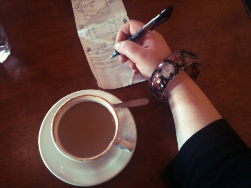 Overhead shot of my arm, wearing a floral bangle, holding a pen drawing diagrams on a slip of paper with a cup of coffee to the left.