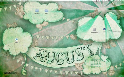 "Hand drawn desktop design with green toned starburst, clouds, paisley and bunting with a banner saying ""AUGUST""."