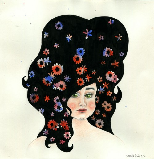 Coloured pencil, watercolour and ink illustration of a chubby woman with bright flowers in her hair.