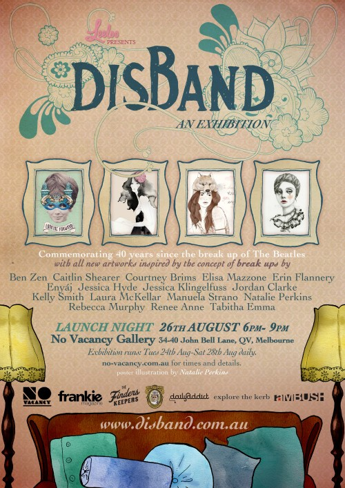 """Poster for Disband art show in Melbourne - peachy pink background with """"Disband"""" hand lettered with flourishes weaving in and out of the letters. At the bottom of the poster is a couch with cushions, and two lamps flanking it."""