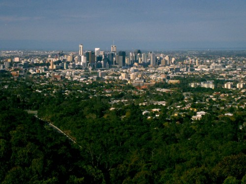 Photo of the Brisbane skyline from the top of Mt Coot-tha.
