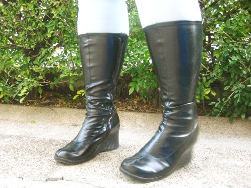 Photo of my vinyl wedge boots.