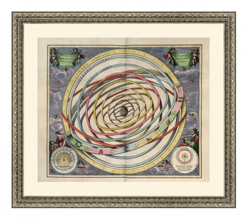 An old framed plate from The Harmonia Macrocosmica featuring concentric circles rotating around a globe at the centre.
