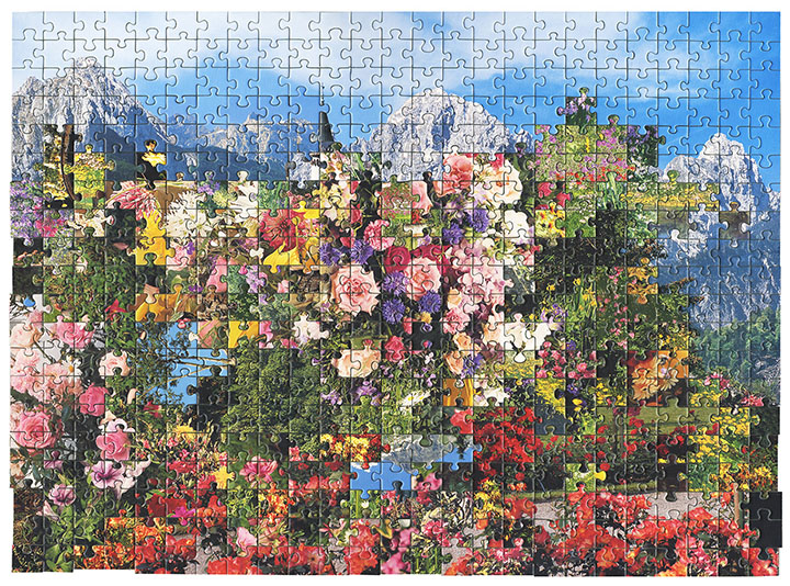 A puzzle that looks to be of sky and mountains but explodes with the colour of lots of different flowers.