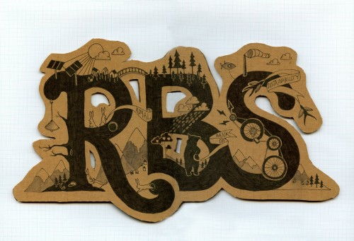 "Hand drawn logo for the Royal Bank of Sustainability. Features ""RBS"" and a lot of hand drawn illustration surrounding the letters on cut out brown card."