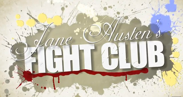 "Graphic with grunge textures saying ""Jane Austen's FIGHT CLUB""."