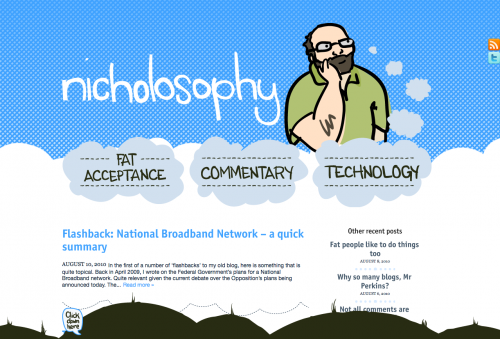 "Screenshot of a blog layout I designed. Top third is sky blue with hand lettered ""nicholosophy"" and an illustration of a fat bald man with a big beard and thought bubbles popping out of his head."