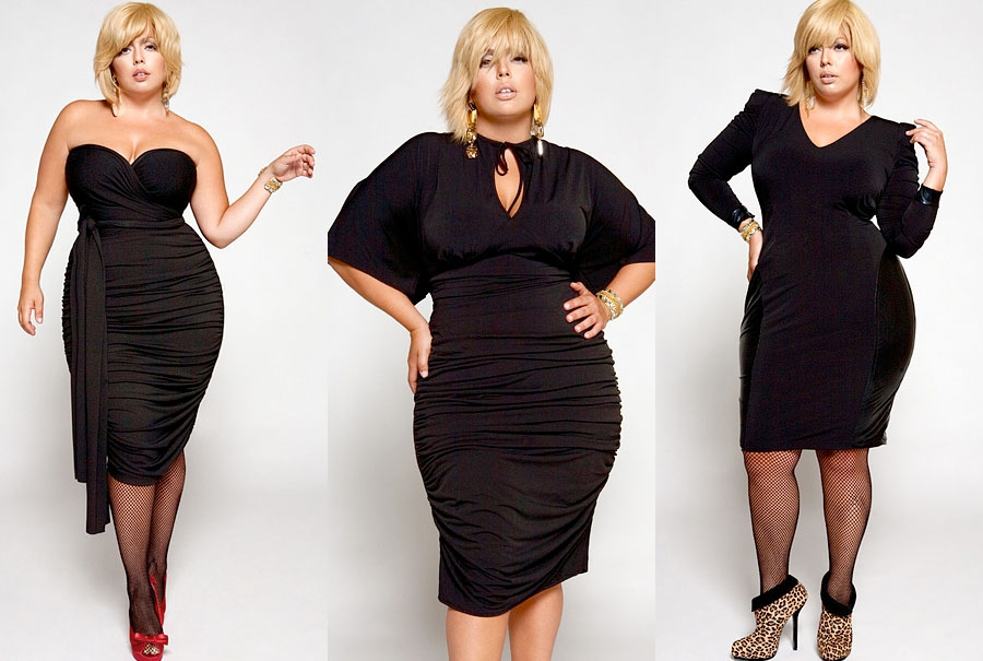 Collage of Fluvia Lacerda, a hot honey-skinned plus size model wearing three little black dresses by Monif C.