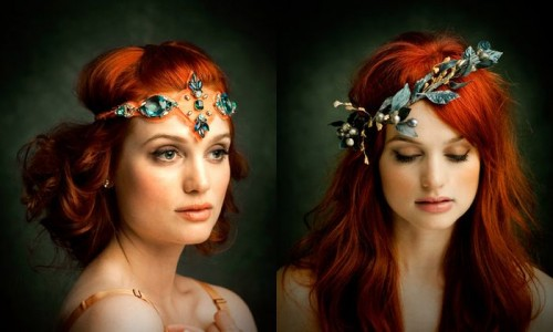 Diptich of photos of a lovely pale skinned red-headed young lady wearing two fantastically gorgeous jewelled and fancy head pieces.