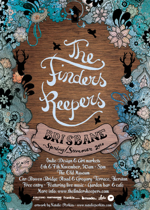"Poster I designed for the Finders Keepers markets in Brisbane - clusters of paisley filled with blue and peach watercolour surround a woodgrain background. ""The Finders Keepers"" is hand lettered in a light blue."