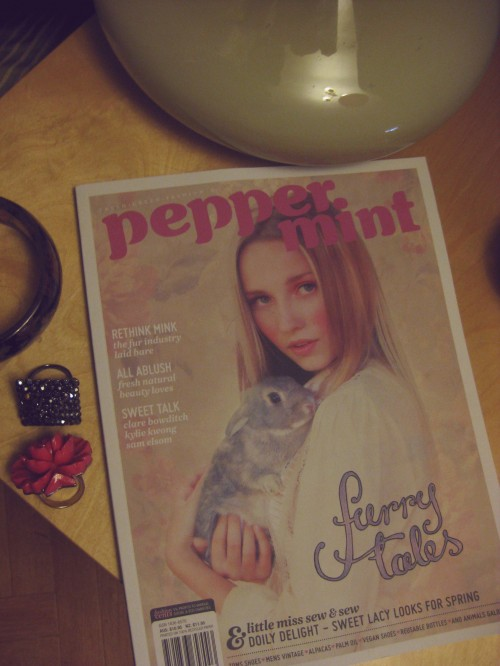 """Photo of Peppermint magazine on a table with two rings beside it. The magazine has a young blonde woman holding a rabbit on the cover, and my lettering in the lower right says """"furry tales""""."""