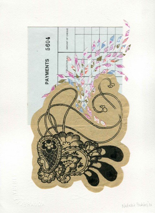 Scan of collage consisting of Gocco print of paisley illustration in black in on cream paper, pasted on blue ledger paper with small diamond shaped slivers of pink fancy paper flying around the page.