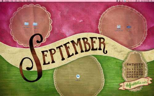 "Desktop wallpaper in watermelon colours, with a hand lettered ""September"" across the middle."
