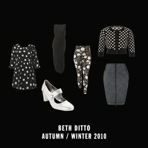 Collage of clothes from the Beth Ditto A/W 2010 collection at evans. A polka dot dress, silver mary jane shoes, long ruched black dress, floral tights, a black cardigan with gold hearts, and a high waisted denim skirt.