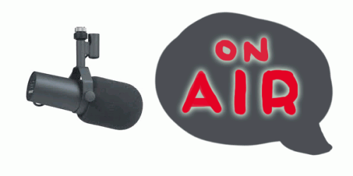 "Stock photo of a radio microphone with a grey speech bubble saying ""on air""."