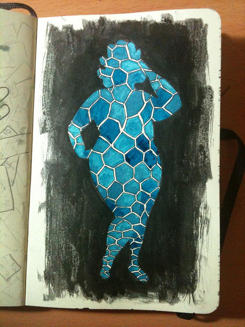Photo of a drawing in a Moleskine page, the silhouette of a fat woman with teal fishnet pattern inside.