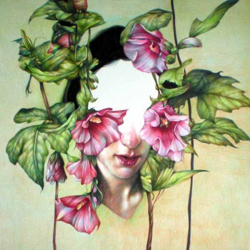 A fairly realistic looking coloured pencil drawing of a woman's head surrounded by the leaves and flowers of the hibiscus. While you can see her lips and nose, her eyes and forehead look to be missing, leaving a void in the drawing.