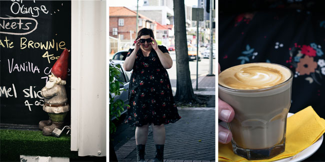 Collage of three photos, from left: a garden gnome sitting in front of a blackboard with the menu written in chalk; outfit shot of me; close up on a latte.