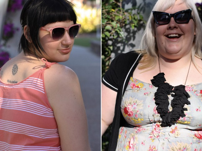 Collage of two photos: left is Sonya in a peach striped dress, she's looking over her shoulder and wearing peach rimmed sunglasses; right is Zoe in a blue floral dress, black cardigan and black ruffly necklace, she is laughing and wears sunglasses with silver tipped pointy edges.