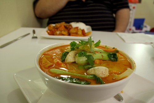 Photo of a big bowl of delicious looking vegetarian laksa.
