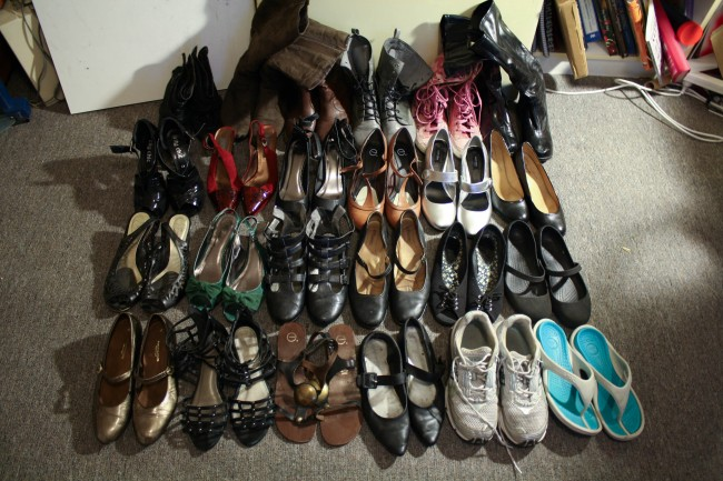A photo of my shoe collection numbering at about 24.