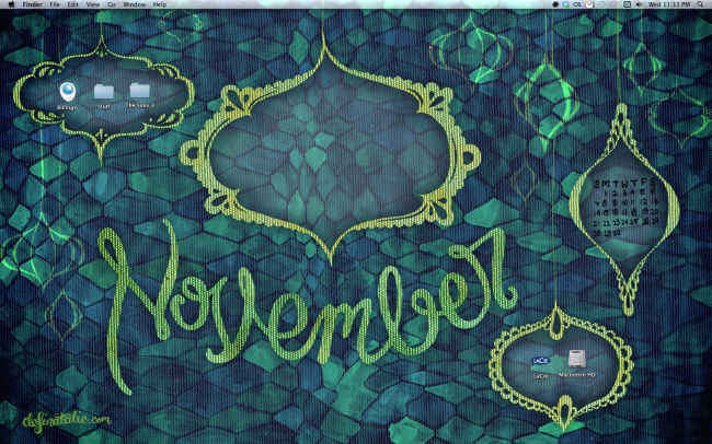"Preview image of green and blue dark fishnet patterned wallpaper  with gold textured frames hanging from the top of the image. A big loopy lettered ""November"" sits in the centre."