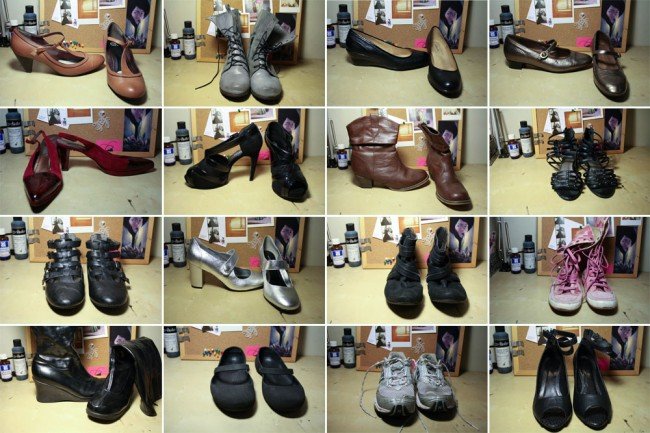 A collage of 20 pairs of my shoes.