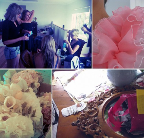 Collage of four photos, clockwise from left: Four girls all standing or sitting getting their hair done; macro photo of pink ruffle detail; a fancy fame, and some hair clips sitting on the table; macro photo of the bridal bouquet consisting of white and pink flowers.