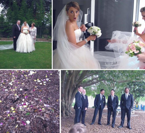 Collage of four photos, clockwise from left: Michelle in her big white strapless wedding dress with looong veil standing with Mum and Dad; Michelle turning around with a shocked look on her face; the groomsmen, groom and MC standing around under a tree wearing smart dark suits, photo of the leaf strewn muddy ground with petals scattered around.