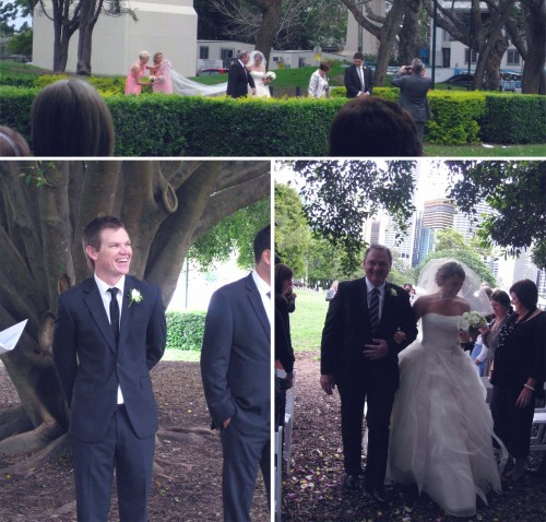 Collage of three photos, clockwise from top: Panoramic photo of the bridal party arriving, hedges block a little of the view; Michelle walking down the aisle with Dad, arms interlinked; Jordan (the groom) looking at the arriving party and smiling.