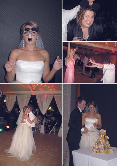 Collage of five photos, clockwise from left: Michelle wearing Groucho Marx glasses with the fuzzy eyebrows and moustache; me wearing Micky Mouse ears; Misho, one of the bridesmaids, dancing with my brother Sam; Michelle and Jordan cutting their cake; the couple dancing the bridal waltz.