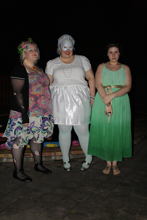 Photo of Zoe, myself and Sonya as Delirium, a unicorn and Medusa respectively.