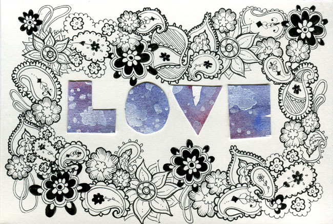 "A scan of a handmade card that has the letters of ""LOVE"" cut out of purple watercoloured paper and surrounded by paisley doodling in black ink."