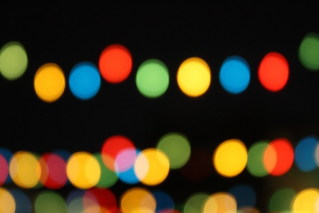 Photo of red, blue, green and yellow bokeh from party lights.