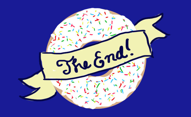 "An illustration of a vanilla iced donut with a banner saying ""The End"" wrapping around it."