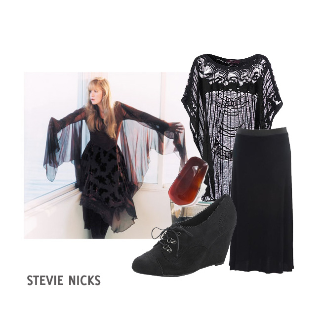 A collage of images including: a photo of Stevie Nicks wearing a black sheer shawl and drapey black dress, standing with her arms outstretched; a black loose knitted tunic; a black maxi skirt; a suede wedge lace up ankle boot; and a brown/red stone ring.