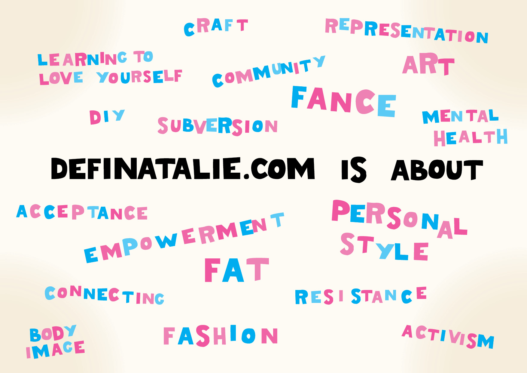 """A graphic with hand drawn block letters in a fridge magnet style. It says """"definatalie.com is about"""" and a whole bunch of words including: fat, acceptance, empowerment, personal style, fashion, art, community."""