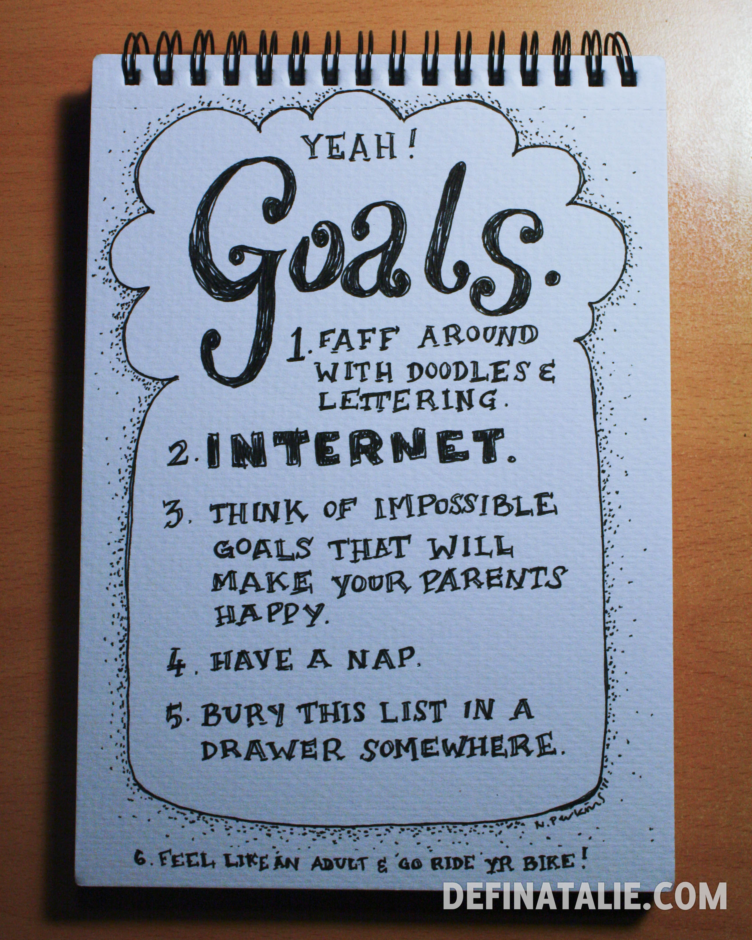"Photo of a page in a notebook that says ""Goals."" and a list. Click for full text."