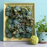 Image - a pale green frame with a tiny vertical garden of succulents planted inside it.