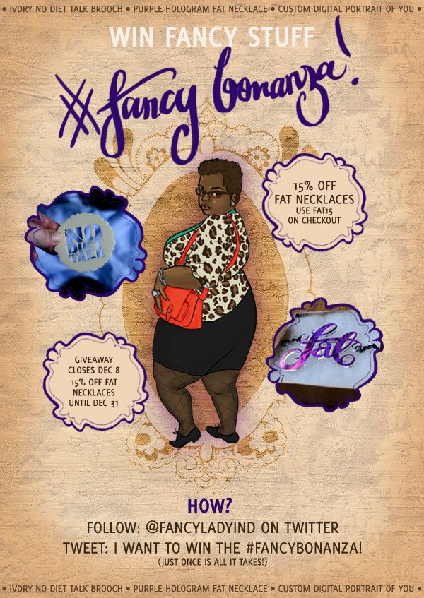 A graphic with an illustration of afrotitty and photos of an ivory No Diet Talk brooch and purple hologram Fat necklace. Text follows: