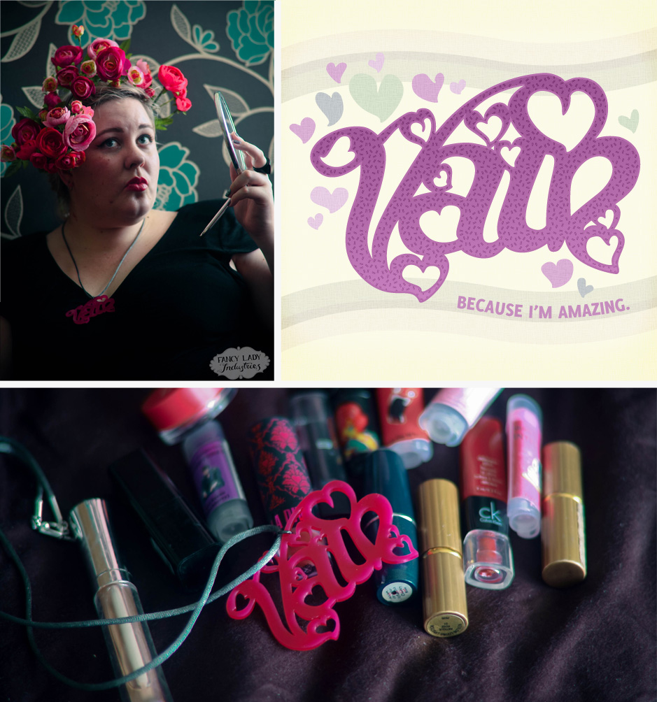 "A collage of three images: Zoe being fabulous with a pink floral headpiece and wearing a vain necklace while holding a mirror; a graphic that says ""Vain. Because I'm amazing.""; and the Vain necklace lying over a collection of lipsticks."